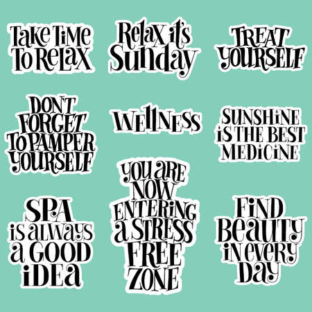 SPA set. Hand-drawn lettering quote for SPA, Wellness center, Wellbeing concept. Typography for merchandise, social media, magazines, posters, web design element. Vector sticker template set