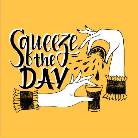 Squeeze the day hand-drawn lettering motivational quote. Typography for print, t-shirt, social media, poster, web design element. Vector lettering with brush script and doodle illustration. Ilustracja