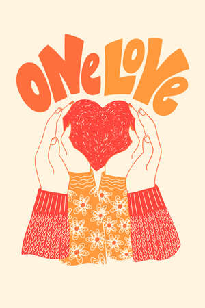 One love hand-drawn lettering typography. Quote about love for Valentines day and wedding. Text for social media, print, t-shirt, card, poster, gift, landing page, web design elements.