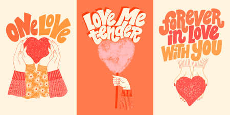Vector card set for valentines day. Romantic collection for social media, print, t-shirt, card, poster, gift, landing page, web design elements. Hand-drawn lettering typography. Doodle illustration.