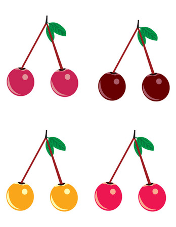 small group of objects: set of colored flat  cherries illustrator