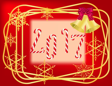Christmas red  frame with golden borders,  candies and snowflakes