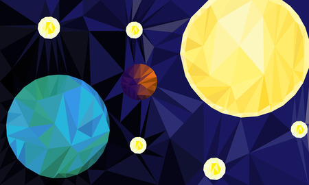 earth from space: Low Poly background of Earth, Sun and stars in space