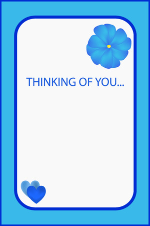 thinking of you: Im thinking of you blue greeting card with flower