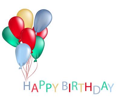 Capítulo de los globos de colores para la tarjeta de felicitación de cumpleaños Ilustración de vector