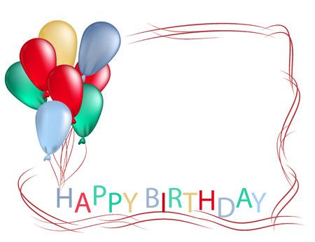 Capítulo de los globos de colores para la tarjeta de felicitación de cumpleaños