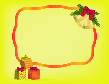 Christmas yellow background with red ribbon, gifts and bow