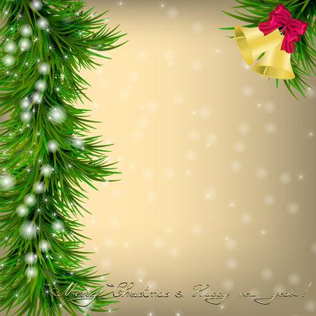 jingle bells: Christmas and New Year Greeting card with Christmas tree, jingle bells and bow
