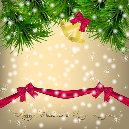jingle bells: Golden Christmas and New Year Greeting card with Christmas tree, snowflakes, bows, ribbon and jingle bells Illustration
