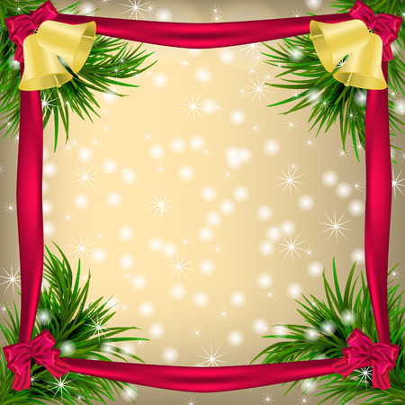 jingle bells: Golden Christmas and New Year Greeting card with frame, snowflakes, bows, ribbon and jingle bells