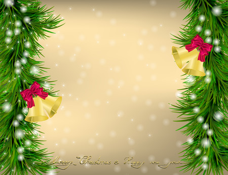 jingle bells: Golden Christmas and New Year Greeting card with Christmas tree, snowflakes and jingle bells