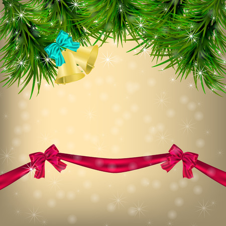 jingle bells: Golden Christmas and New Year Greeting card with Christmas tree, sowflakes, bows, ribbon and jingle bells