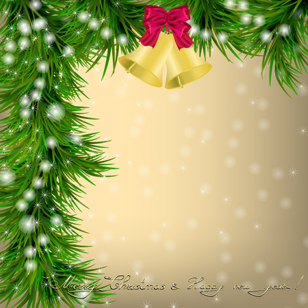 jingle bells: Christmas and New Year Greeting card with fir twigs, jingle bells and bow