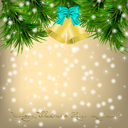 jingle bells: Golden Christmas and New Year Greeting card with fir twigs, snowflakes and jingle bells Illustration