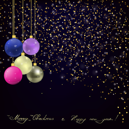greating card: Christmas and new year Greating card with Gold glitter on dark blue background and Christmas balls