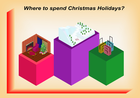 spend: How to spend Christmas holidays in the form of isometric infographic Illustration