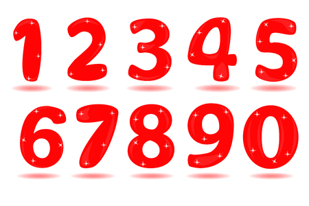 Number from 0 to 9 isolated in white background.
