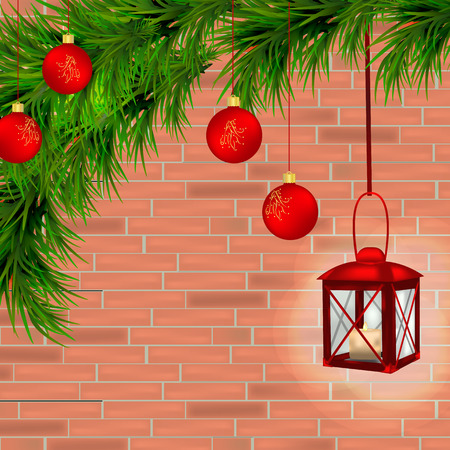 Red lantern with candle, Christmas tree branches, twigs, red Christmas balls and red brick background.  Vector illustration.