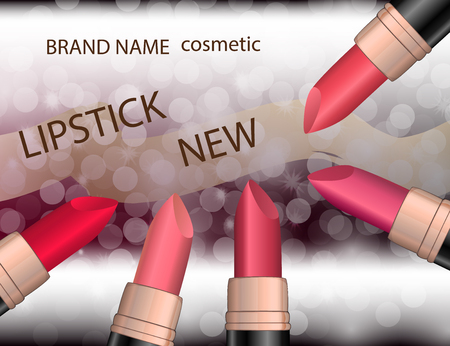glamorous: Glamorous colorful lipstick set  on the  sparkling effects background. Mockup 3D Realistic Vector illustration for design, template Illustration