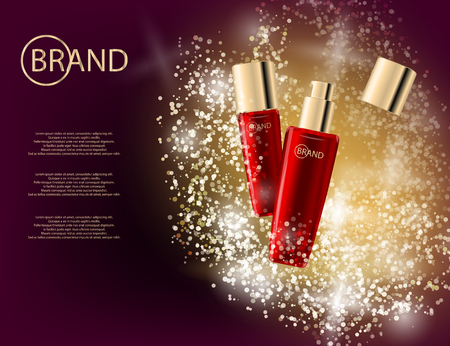 beauty care: Glamorous face Beauty Care Products Packages on the  sparkling effects background. Mockup 3D Realistic Vector illustration for design, template