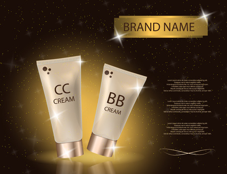 Glamorous CC and BB cream  packages  on the  sparkling effects background. Mockup 3D Realistic Vector illustration for design, template