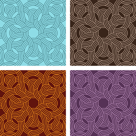 Vintage seamless colorful pattern vector backgrounds, four in set Illustration