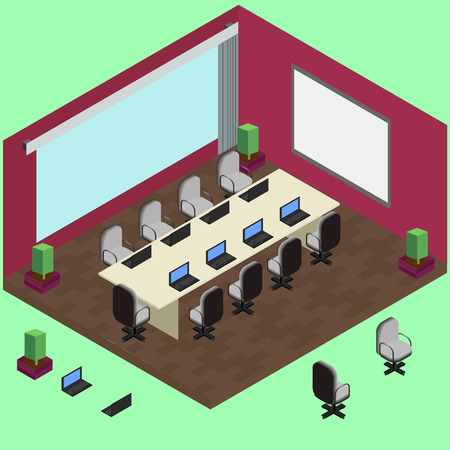 jalousie: Isometric conference room with laptop, table, armchairs in vector Illustration