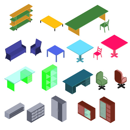 Isometric set furniture of bookshelves, table, sofa, armchair, wardrobe, tv stand, chest of drawers Illustration