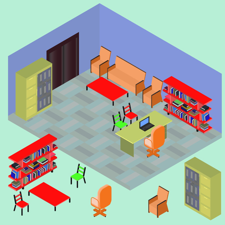 Isometric work place with set of objects: table, computer; bookshelves, armchair, sofa, folder, file, books in vector Illustration