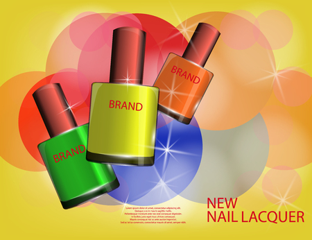 Colorful nail lacquer template, glossy bottles on the sparkling effects background. Mockup 3D Realistic Vector illustration for design, template