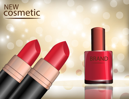 Glamorous nail lacquer and lipstick on the  sparkling effects background. Mockup 3D Realistic Vector illustration for design, template