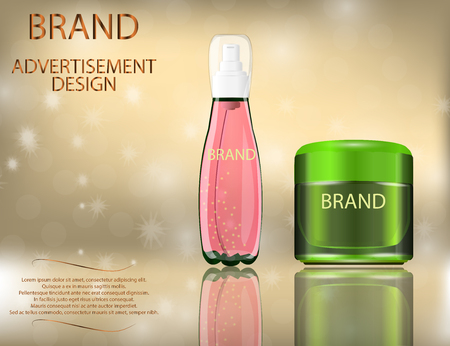 Facial Cream with Aloe Vera and Serum Lemon Extract  for Skin on the sparckling  Background, Concept Skin Care Cosmetic.