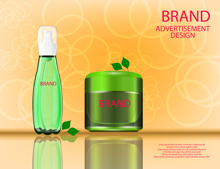 Facial Cream and Serum with Aloe Vera Extract  for Skin on the sparckling  Background, Concept Skin Care Cosmetic.
