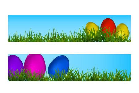 Happy Easter Vector Typography banner with place for your text message with colored eggs and green grass on the blue background. Vector Illustration EPS10