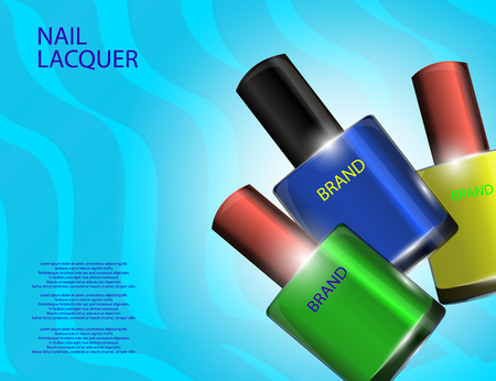 Colorful nail lacquer template, glossy bottles on the sparkling effects background. Mock-up 3D Realistic Vector illustration for design, template