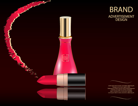 Glamorous perfume glass bottle and red lipstick on the  sparkling effects background. Mock-up 3D Realistic Vector illustration for design, template Illustration