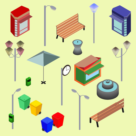 newsstand: Urban city street isometric vector objects, benches, streetlight, booth, newsstand, Kiosk, clock, recycle bins, fountain. Vector Illustration