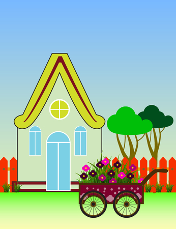 City Background with Suburban House Front View Building and Carriage with flowers.  Vector cartoon illustration. Illustration