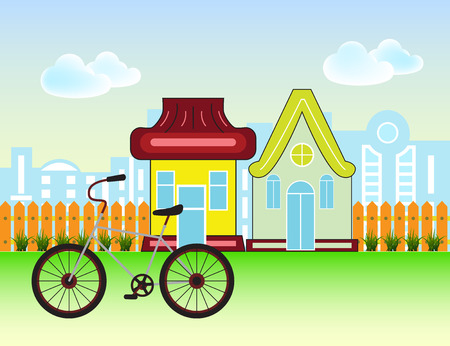 Suburban Houses Front View Building and bicycle with wooden fence and city silhouette.  Vector cartoon illustration. Illustration