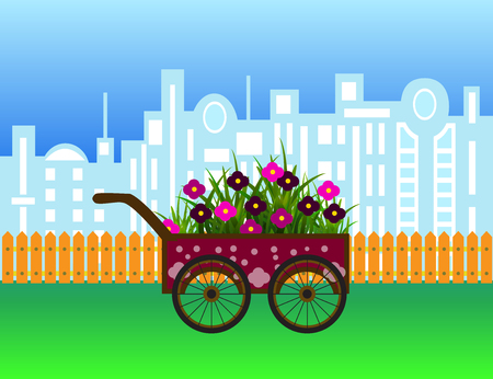 Carriage with flowers on modern city silhouette and wooden fence.Vector cartoon illustration.
