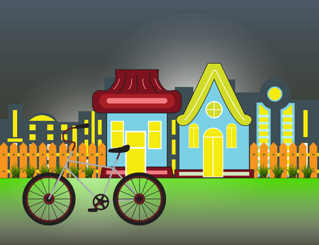 Suburban Houses Front View Building and bicycle with wooden fence and night city silhouette.  Vector cartoon illustration. Illustration