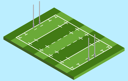 Isometric Rugby field in vector EPS 10.