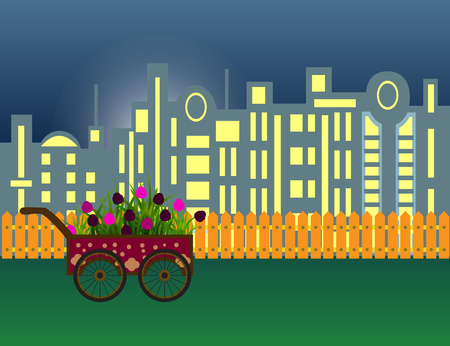 Carriage with flowers on modern night city silhouette and wooden fence.Vector cartoon illustration.