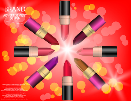 Glamorous colorful lipstick set  on the  sparkling effects background. Mock-up 3D Realistic Vector illustration for design, template. Illustration