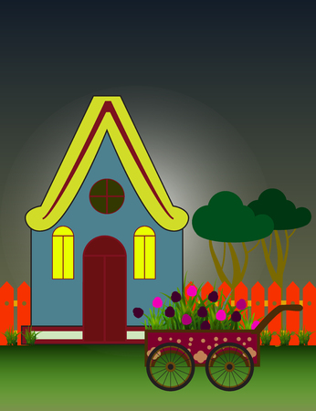 suburbia: Night City Background with Suburban House Front View Building and Carriage with flowers.  Vector cartoon illustration.