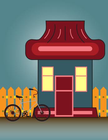 교외 집 전면보기 건물 및 나무 울타리와 자전거입니다. 벡터 만화 일러스트 레이 션. 일러스트