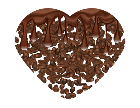 Coffee Beans Hart Shape with Drops of Melted Chocolate Isilated on White Background.  Vector Illustration.