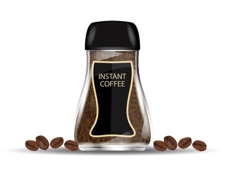 인스턴트 커피과 립과 커피 콩 흰색 배경에 고립 된 커피 유리 항아리. 벡터 일러스트 레이 션.