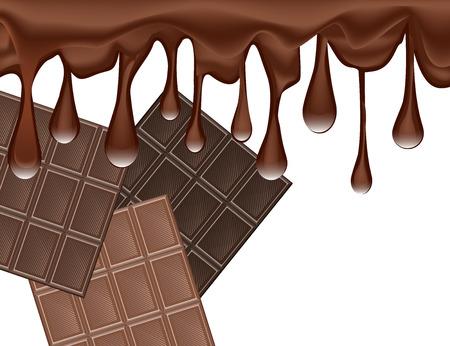 Gocce di cioccolato fuso e set di barre di cioccolato isolato su sfondo bianco. Illustrazione vettoriale