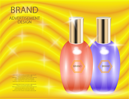 Glamorous perfume glass bottles on the Yellow background. Mock-up 3D Realistic Vector illustration for design, template